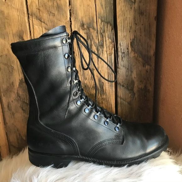 Leather combat boots men\u2019s 10.5